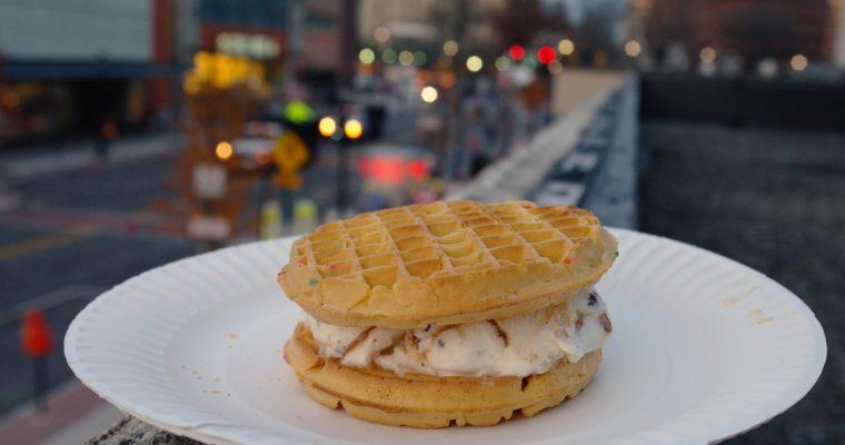 Waffle Cone Ice Cream on confetti waffles