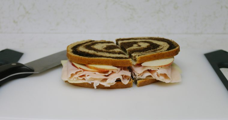 Turkey, Swiss, and Apple on rye pumpernickel