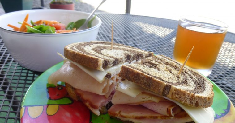 Ham, Turkey, and Cheese on rye
