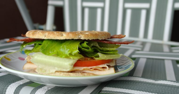 Turkey BLT on multi-grain sandwich thins