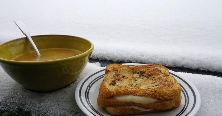 Double-decker garlic grilled cheese