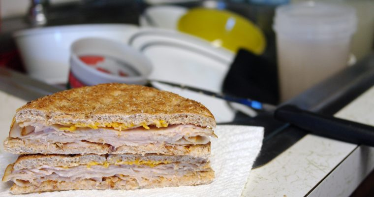 Hot Turkey and Cheese on bread thin