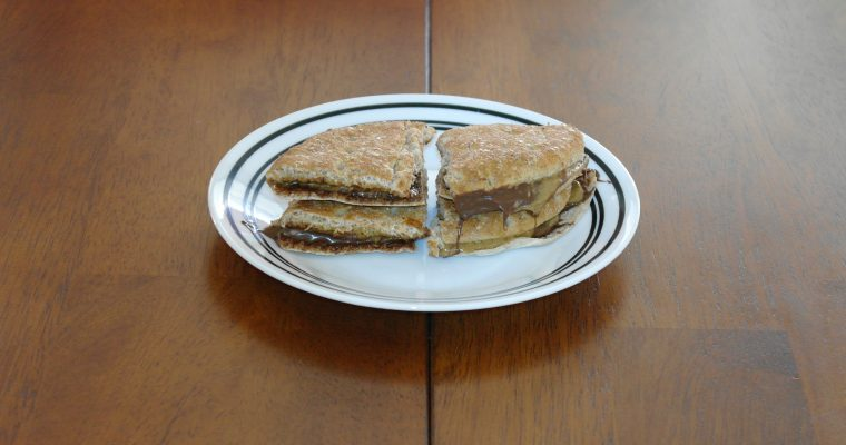 Almond Butter and Nutella on wheat