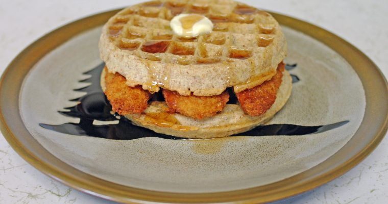 Chicken tenders on waffles