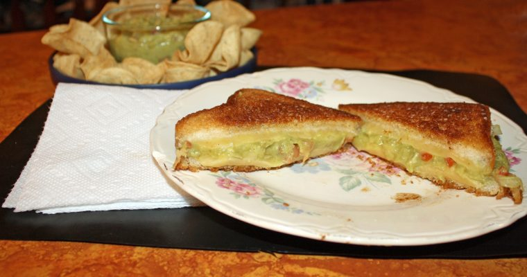 Homemade Guacamole Grilled Cheese on whole grain white