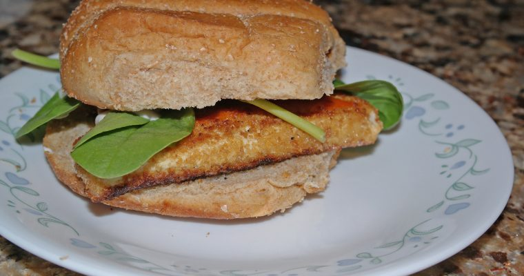 Buffalo Tofu on wheat bun