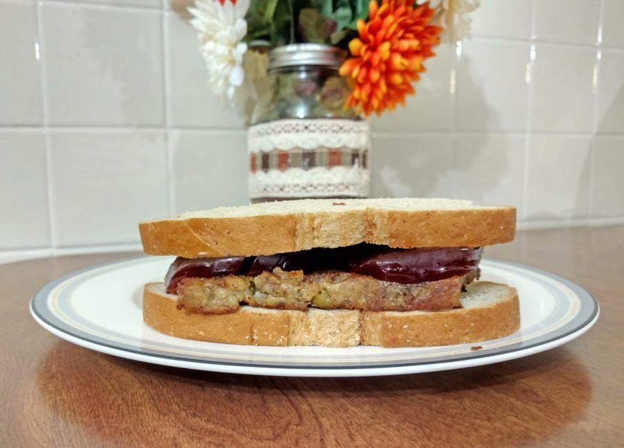fried stuffing and cranberry sauce on rye
