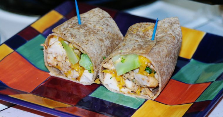 Chicken, Broccoli, and Cheddar on whole wheat wrap