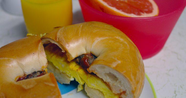 Turkey Sausage and Egg on plain bagel