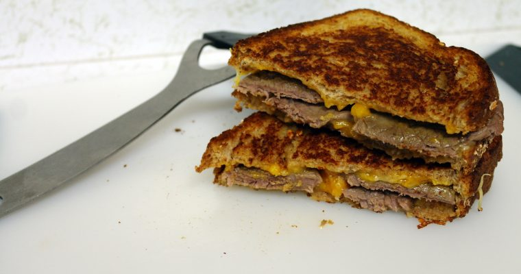 Grilled Steak and Cheese on whole grain