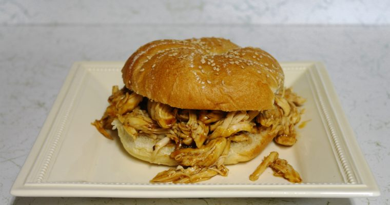 Pulled Barbecue Chicken on kaiser roll
