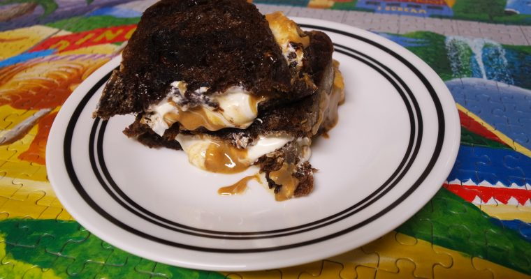Peanut Butter and White Chocolate on chocolate cherry bread