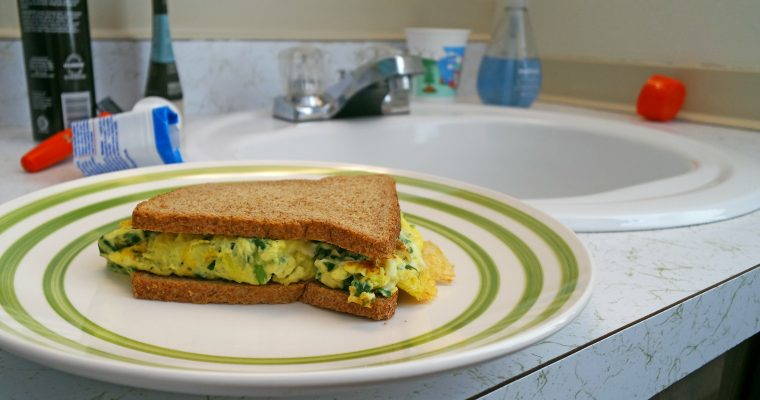 Egg, Spinach, and Cheese on wheat toast