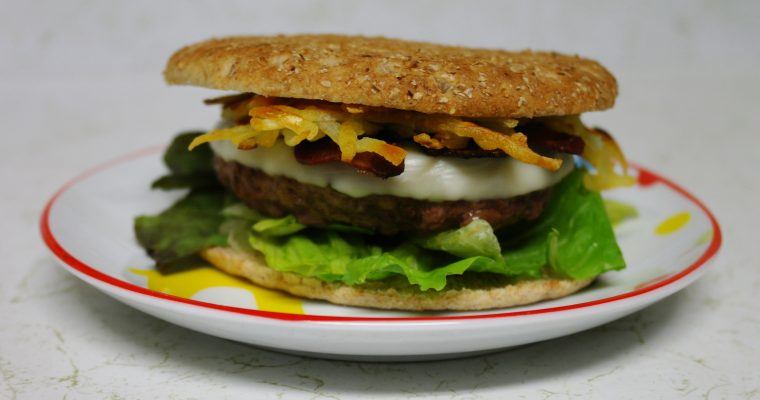 Potato Bacon Cheeseburger on bread thin