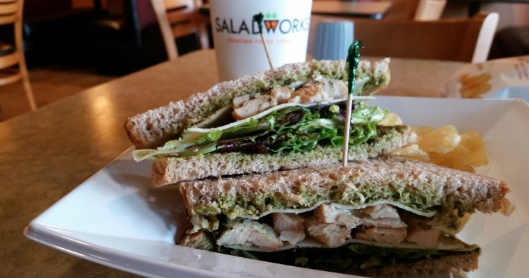 Chicken and greens on wheat