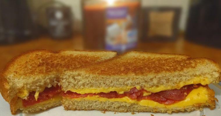 Pepperoni and Cheddar Grilled Cheese on whole grain