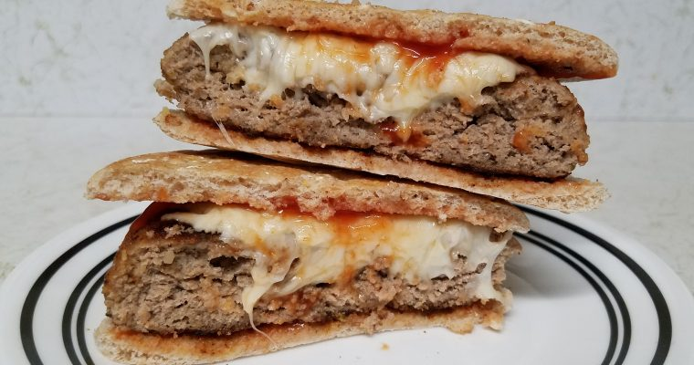 Turkey Cheeseburger on bread thins