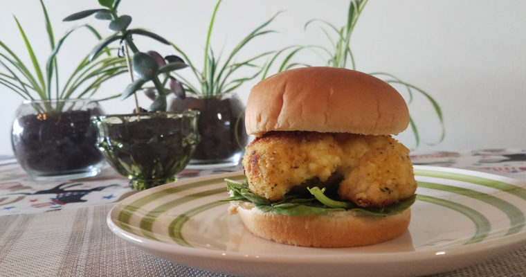Cauliflower burger on bun