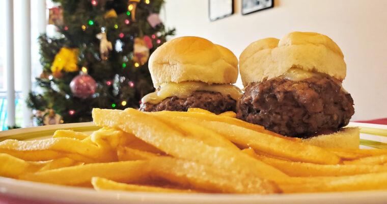 Cheeseburger sliders on dinner rolls